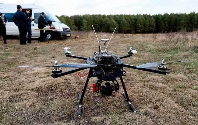 Использование дрона в лесу